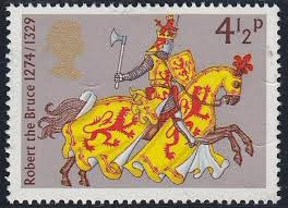 ::postage stamp history:RObert the Bruce 1274 1329 horse knight 4 1 2 p axe shield red lion rampant .jpeg