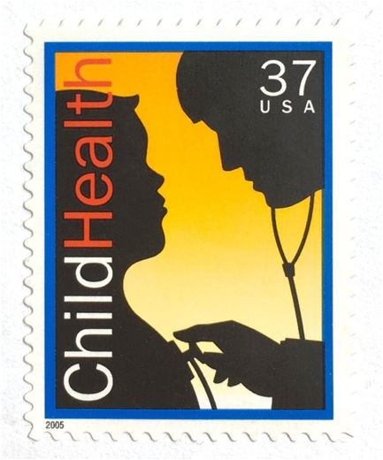 :::stamps states:37 child health stamp  stethoscope yellow sillouette 2005.png