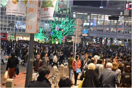 C 3T MAC OS Extended Journalized:Pictures:2016 Tokyo pictures Shibuya:DSC_8357 Tokyo Shibuya night Christmas full crosswalk.JPG